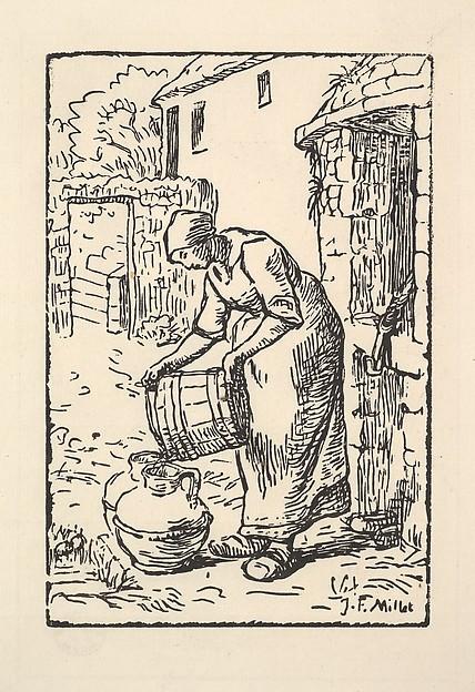 Woman Emptying a Bucket