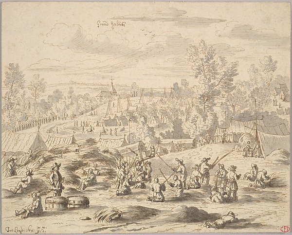 Peasants in a Landscape with a Military Camp in Grand-Hallet