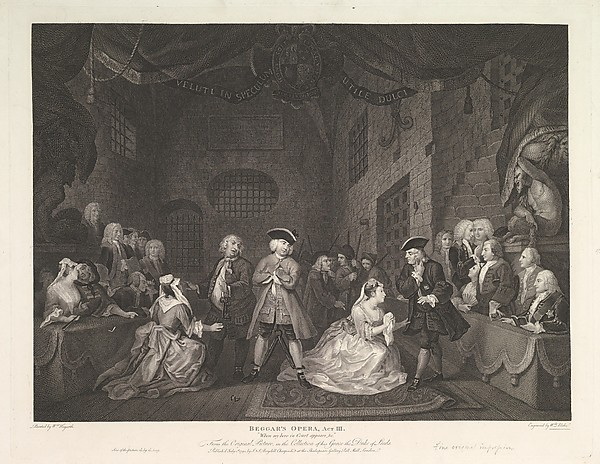 Fascinating Historical Picture of William Hogarth with The Beggars Opera Act III on 7/1/1790