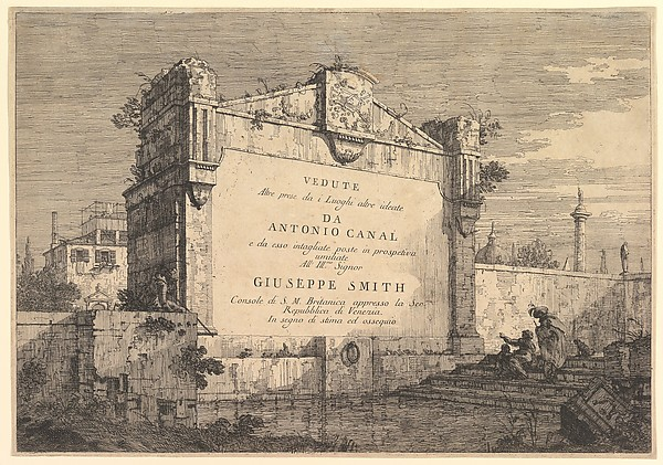 Title plate of 'Vedute altre prese da i luoghi altre ideate', with title and publication information inscribed into a wall plaque at the edge of a canal