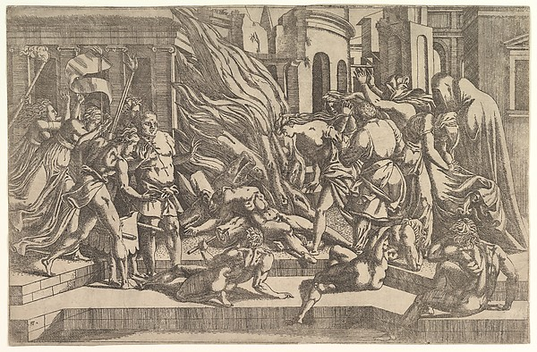 Fascinating Historical Picture of Antonio Fantuzzi with Burning of a male corpse surrounded by dressed and undressed figures in a stepped architectural sett in 1543