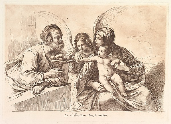 The Holy Family, the Christ Child reaching for a plate of fruit held by Joseph, an angel gesturing toward the fruit, published in 'Raccolta di alcuni disegni del Barbieri da Cento detto il Guernico,' Rome, 1764