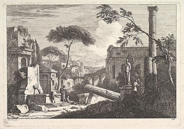 Fascinating Historical Picture of Davide Antonio Fossati with Landscape with Ruins in 1743