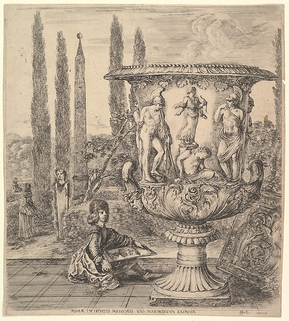 Fascinating Historical Picture of Stefano della Bella with The Medici vase a large vase to right decorated with a representation of the sacrifice of Iphigenia in 1656