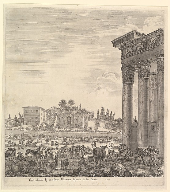Fascinating Historical Picture of Stefano della Bella with The columns of the Temple of Antoninus to right a part of the Campo Vaccino in center and at left in 1656