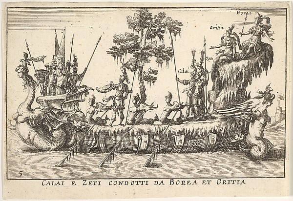 Calais and Zetes led by Boreas and Oreithyia (Calai e Zeti condotti da Borea et Oritia), with female-headed sea creatures at the prow and stern, and a tree at shipdeck center, from the series 'The magnificent pageant on the river Arno in Florence for the marriage of the Grand Duke' (Le Magnifique carousel fait sur le fleuve de l'Arne a Florence, pour le mariage du Grand Duc), for the wedding celebration of Cosimo de' Medici in Florence, 1608