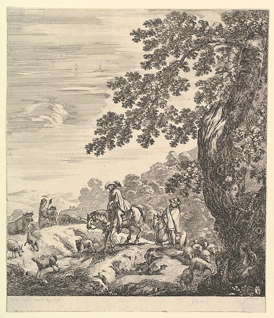 Fascinating Historical Picture of Stefano della Bella with Two horsemen pass a flock riding towards the left a peasant woman and a young boy to left in the m in 1656