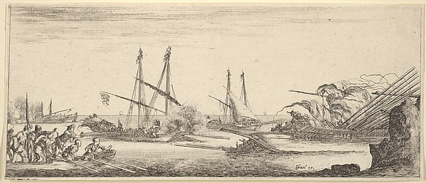 A naval battle, a rowboat full of men to left, a sinking ship to right, two galleys battling in center, other ships battle to left in the background, from 'Various landscapes' (Divers paysages)