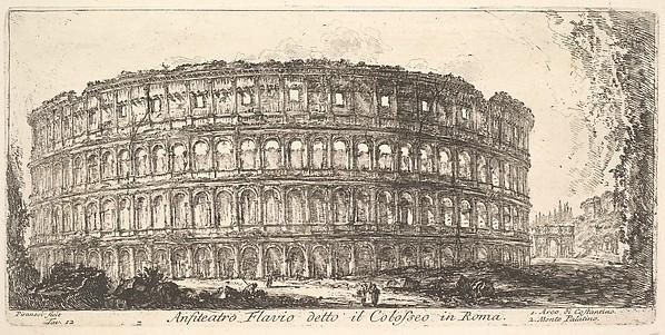 Flavian Amphitheater, called the Colosseum. 1. Arch of Constantine. 2. Palatine Hill. (Anfiteatro Flavio detto il Colosseo in Roma. 1. Arco di Costantino. 2. Monte Palatino.)