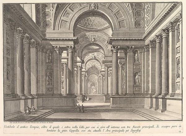 Fascinating Historical Picture of Giovanni Battista Piranesi with Vestibule of an ancient temple . . . (Vestibolo dantico Tempio . . .) in 1743