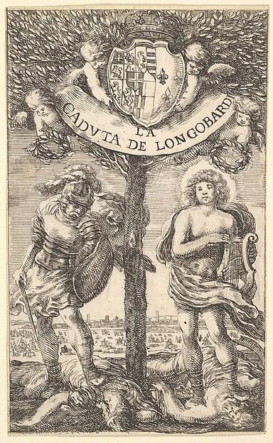 Fascinating Historical Picture of Stefano della Bella with Frontispiece for The Fall of Longobardi (La Caduta de Longobardi) poems by Sigismond Boldoni; a in 1656