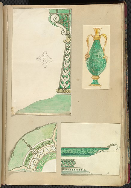 Designs for a Candlestick, Two Handled Vase, Decorated Plate and Footed Dish