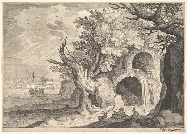 Fascinating Historical Picture of Roelandt Savery with Ruined aqueduct with water spilling from it to a stream below ships at sea beyond a man reclining in 1600