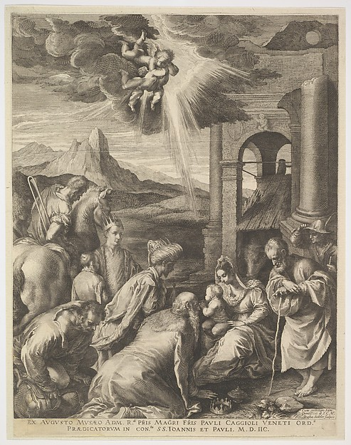 Adoration of the Magi: the seated Virgin holds the Christ Child on her lap, surrounded by the three magi, Joseph leaning on a staff, and other male figures, a rocky landscape with stone ruins beyond, three winged cherubs above