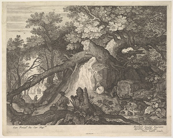 A man holding a staff and seated on a tree trunk; with two goats to either side; surrounded by downed trees, foliage, and a stream; from a series of six landscapes after Roelandt Savery