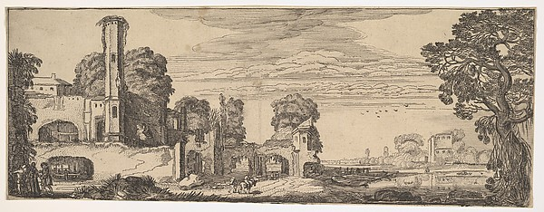 Fascinating Historical Picture of Jan van de Velde II with Riverscape with Ruins of a Castle (from Landscapes and Ruins) in 1615