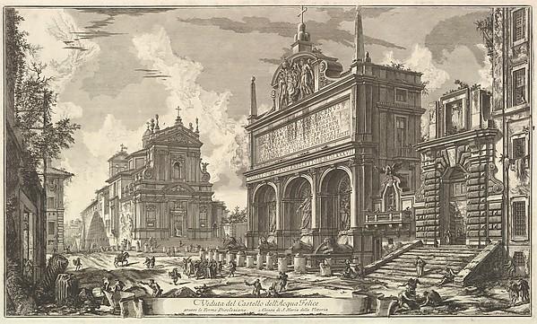 Fascinating Historical Picture of Giovanni Battista Piranesi with View of the Fountainhead of the Acqua Felice.... from Vedute di Roma (Roman Views) in 1751