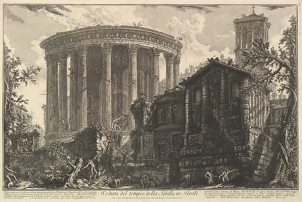 Fascinating Historical Picture of Giovanni Battista Piranesi with View of the Temple of the Temple of the Sibyl at Tivoli from Vedute di Roma (Roman Views) in 1761