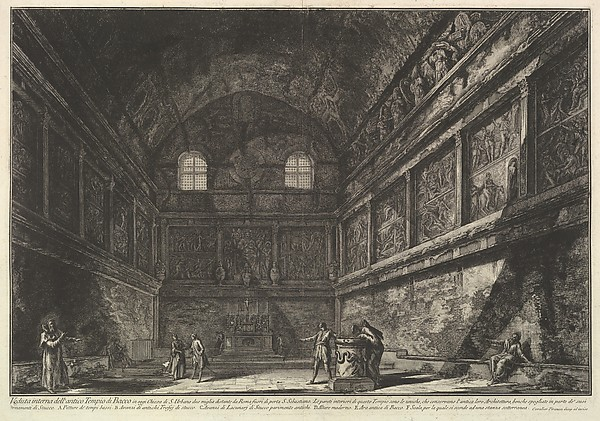 Interior view of the ancient Temple of Bacchus, now the church of S. Urbano, two miles from Rome..., from Vedute di Roma (Roman Views)