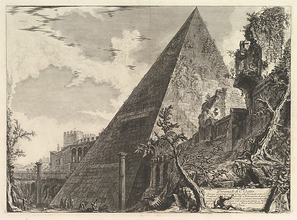 The Pyramid of Gaius Cestius, from Vedute di Roma (Roman Views)