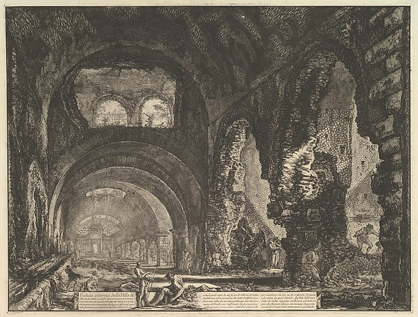 Fascinating Historical Picture of Giovanni Battista Piranesi with The so-called Villa of Maecenas at Tivoli. Interior with two figures in the opening of an arch above in 1764