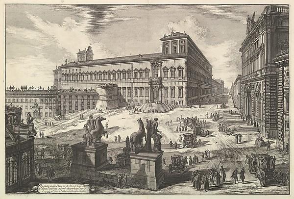 Fascinating Historical Picture of Giovanni Battista Piranesi with View of the Piazza di monte Cavallo from Vedute di Roma (Roman Views) in 1773