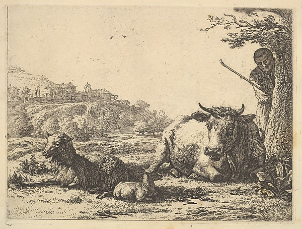 This is What Karel Dujardin and Cow adult sheep and young sheep lying in the grass; beyond a shepherd stands partially behind a t Looked Like  in 1656