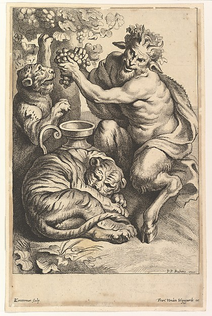 Satyr with Grapes and Two Tigers
