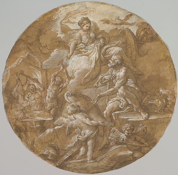 Venus at the Forge of Vulcan (recto); Sketches with Two Putti (verso)