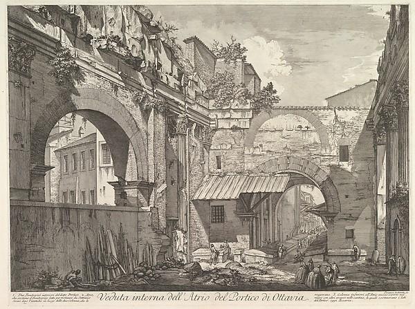 The Portico of Octavia: The entrance porch, interior (Veduta interna dell'Atrio del Portico di Ottavia)