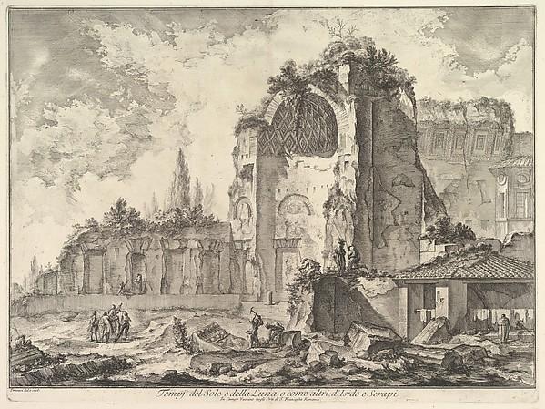 Fascinating Historical Picture of Giovanni Battista Piranesi with The Temple of Venus and Roma (erroneously called Temple of Sol and Luna) (Veduta degli avanzi di due in 1759