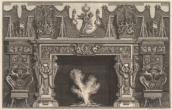 Bird in shell at the center of the lintel, with a frieze of trophies, surmounted by an overmantel with candelabra and flanked by chairs. (Ch. décorée d'une frise de casques et d'armures . . .)