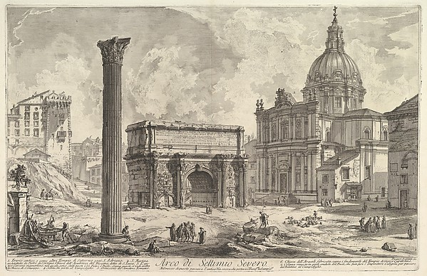 The Arch of Septimius Severus, with the Church of S. Martina on the right (Arco di Settimio Severo)