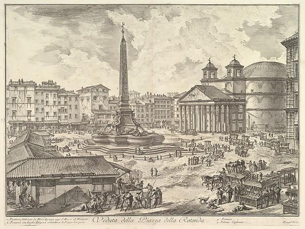 Fascinating Historical Picture of Giovanni Battista Piranesi with The Piazza della Rotonda with the Pantheon and Obelisk (Veduta della Piazza della Rotonda) in 1751