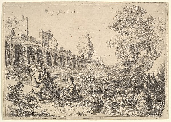Corsica seated before satyrs on the bank of a river, from a pair of plates for Battista Guarini's 'Il Pastor fido'