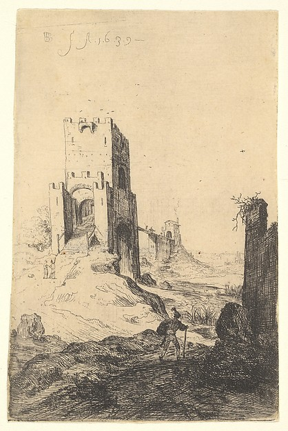 View of Ponte Mammolo, a bridge in the background, a tower with ramp in the middle ground, a man with a walking stick in the foreground, from the series 'The Ruins of Rome'