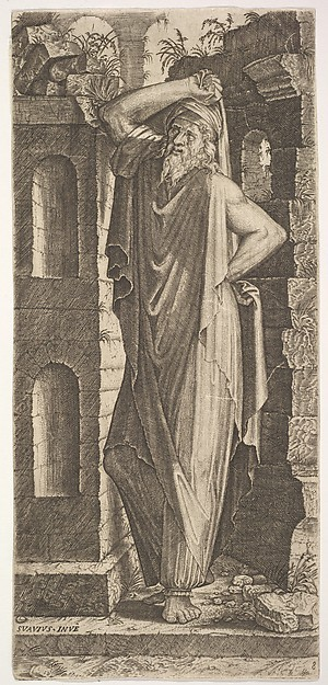 St. Philip(?), standing with his left hand on his hip and his right hand resting on his head, masonry walls to his right and behind him, from a series of full-length figures of Christ and the Twelve Apostles