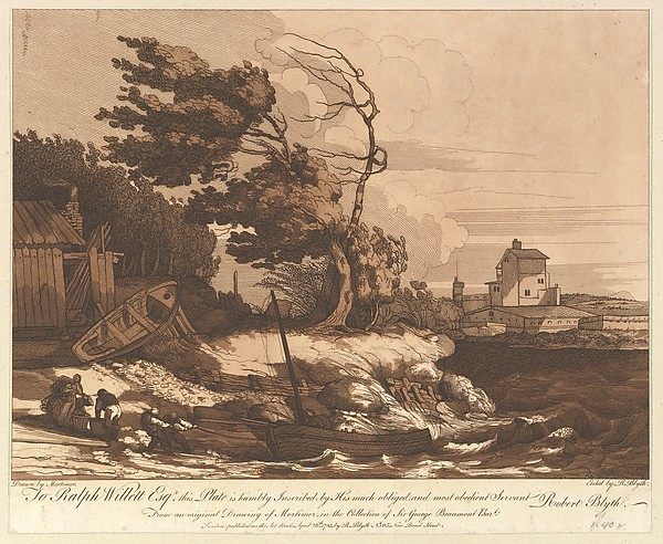 Fascinating Historical Picture of John Hamilton Mortimer with Beaching a Fishing Boat in a Gale on 4/26/1783
