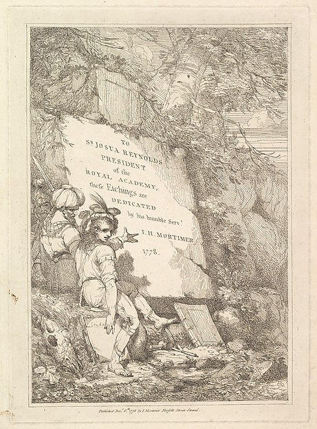 Fascinating Historical Picture of  with Frontispiece (from Fifteen Etchings Dedicated to Sir Joshua Reynolds) on 12/8/1778