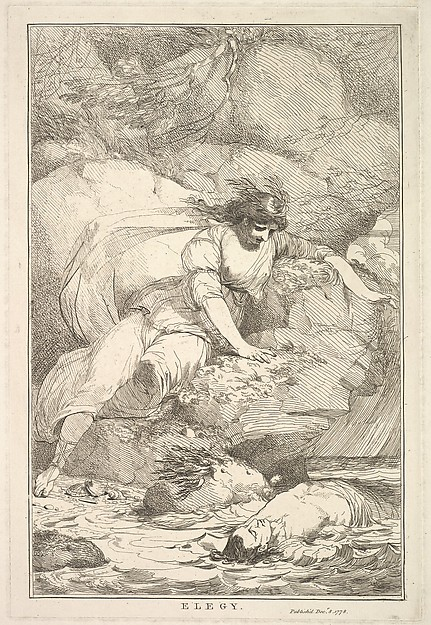 Fascinating Historical Picture of  with Elegy (from Fifteen Etchings Dedicated to Sir Joshua Reynolds) on 12/8/1778