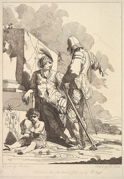 This is What Robert Blyth and Two Soldiers and Child Holding a Helmet Looked Like  on 7/19/1779