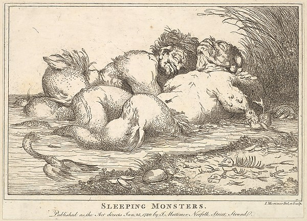 Fascinating Historical Picture of John Hamilton Mortimer with Sleeping Monsters on 1/25/1780