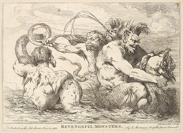 Fascinating Historical Picture of John Hamilton Mortimer with Revengeful Monsters on 1/25/1780
