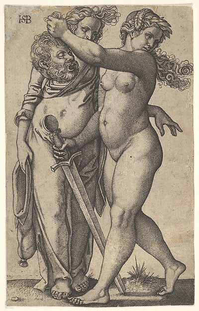 Judith walking to the left with the head of Holofernes in her right hand and a sword in her left hand, her servant standing behind the head to left