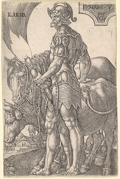 Fascinating Historical Picture of Heinrich Aldegrever with Mars from The Seven Planets in 1533