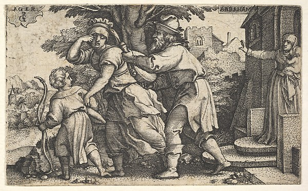 Fascinating Historical Picture of Georg Pencz with Abraham sending away Hagar and Ishmael| Abraham holds forth a vessel as Hagar and Ishmael stride bef in 1543