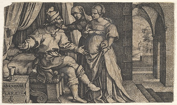 Fascinating Historical Picture of Georg Pencz with Sarah presenting Hagar to Abraham who sits at the foot of a bed from the series The Story of Abra in 1543