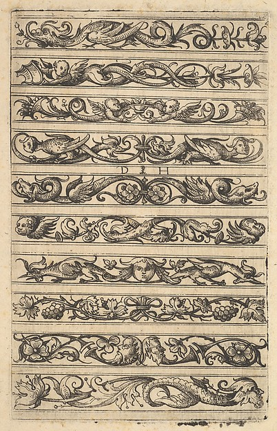 Fascinating Historical Picture of Daniel Hopfer with Designs for ten decorative friezes in 1485