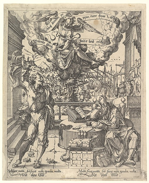 Fascinating Historical Picture of Christoph Murer with An Allegory of a Rich Man and a Poor Man (Der Lustige Arme und der Traurige Reiche) in 1596