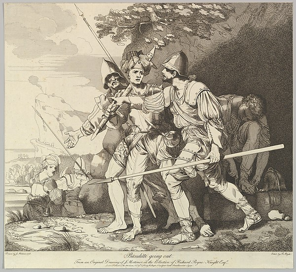 Fascinating Historical Picture of John Hamilton Mortimer with Banditti Going Out on 11/9/1780